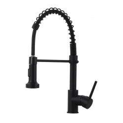 Смеситель кухонный Luxor Lord Black черная сталь с Fingerprint Protect + светодиодная LED подсветка воды